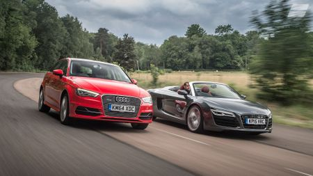 2014 Audi A3 Sportback e-tron tracking with R8 spyder